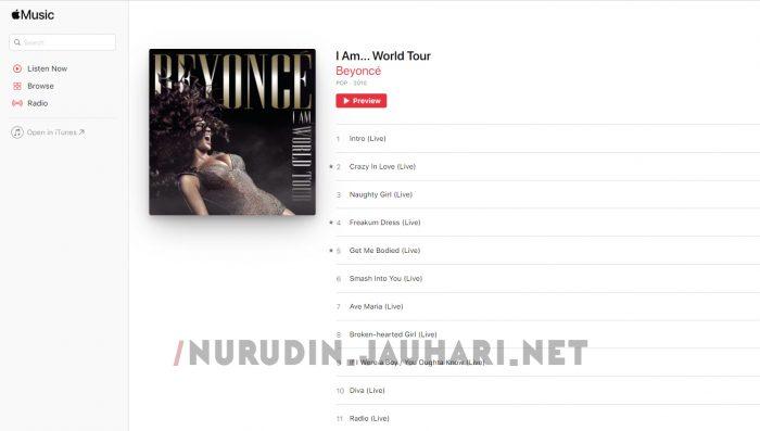 Album I am World Tour Beyonce di Apple Music