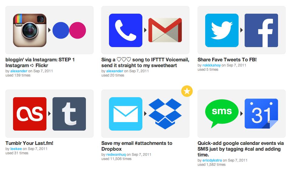 Kumpulan Aplikasi2 yang didukung IFTTT