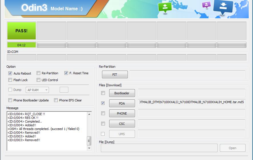 Update Firmware dengan Odin3 Samsung Galaxy Note II N7100