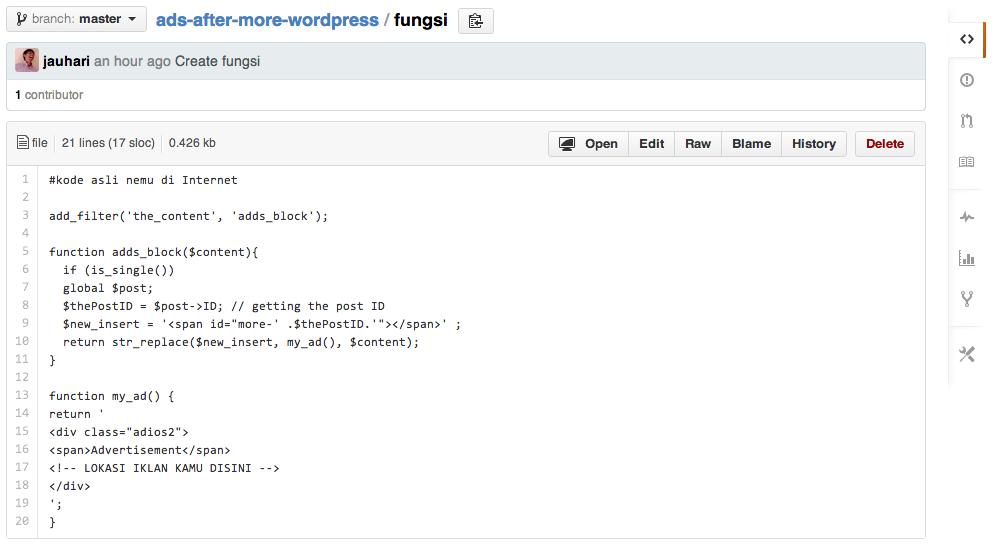 Embed Code Github ke WordPress