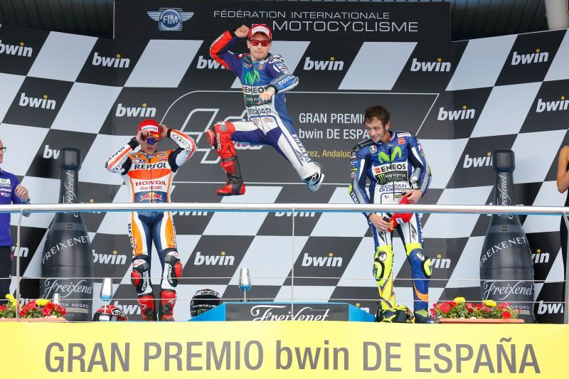Marc Marquez 2 Jorge Lorenzo 1 Valentino Rossi 3 MotoGP Jerez 2015