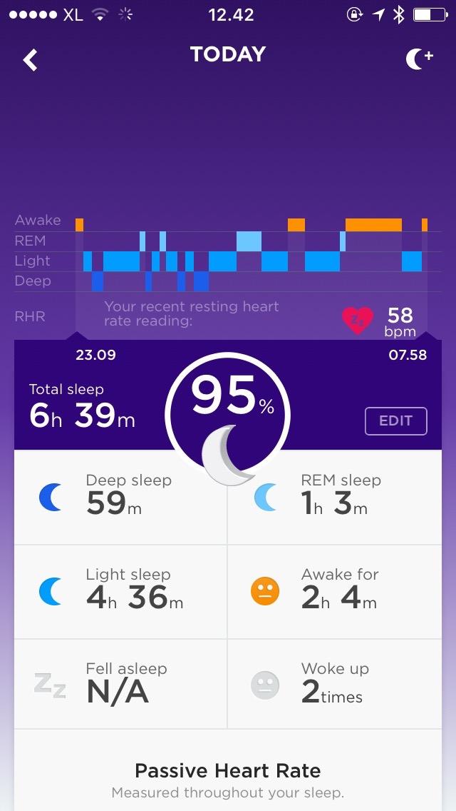 Kualitas Tidur pantauan Jawbone UP3