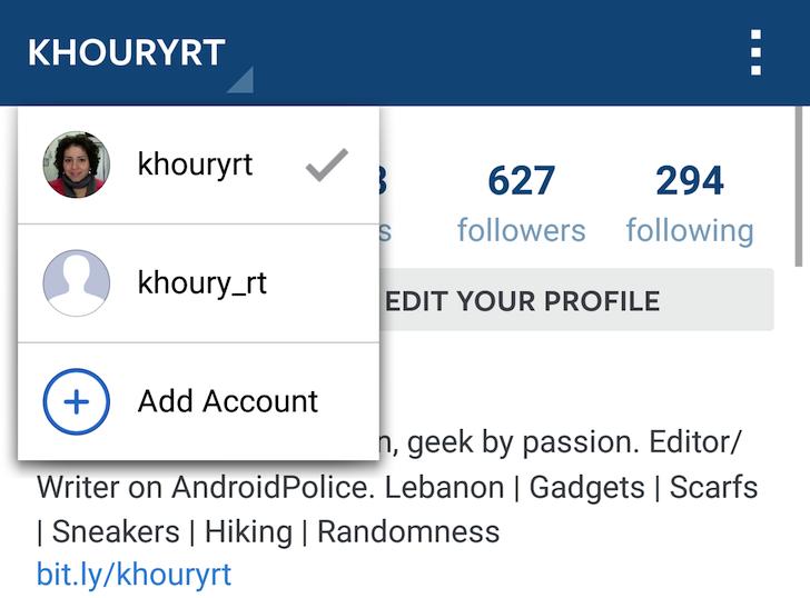 Salah satu Aplikasi Instagram yang sudah Multiple Account