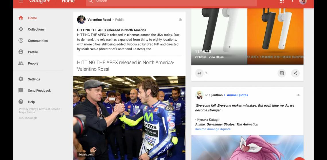 UI baru Google+ begitu Material Design