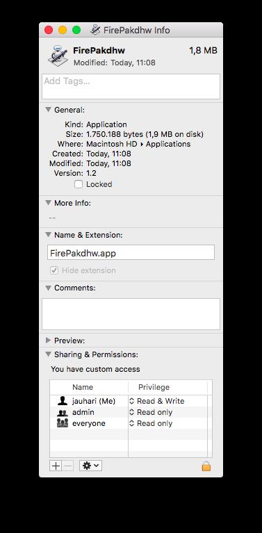 Dialog Details Aplikasi Mac OS X