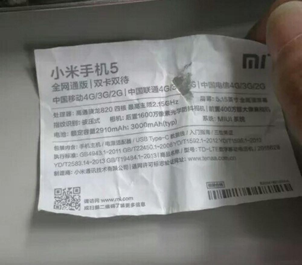 Spek Resmi Xiaomi Mi5