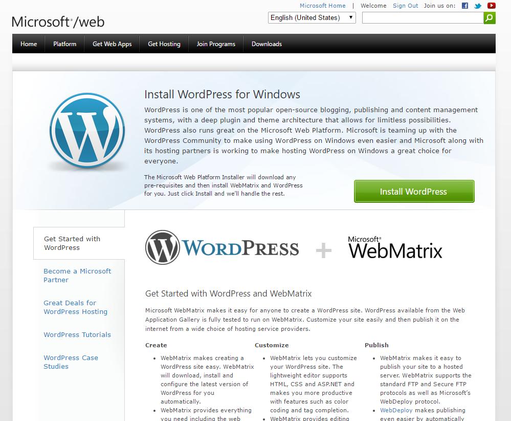 Layanan microsoft web wordpress