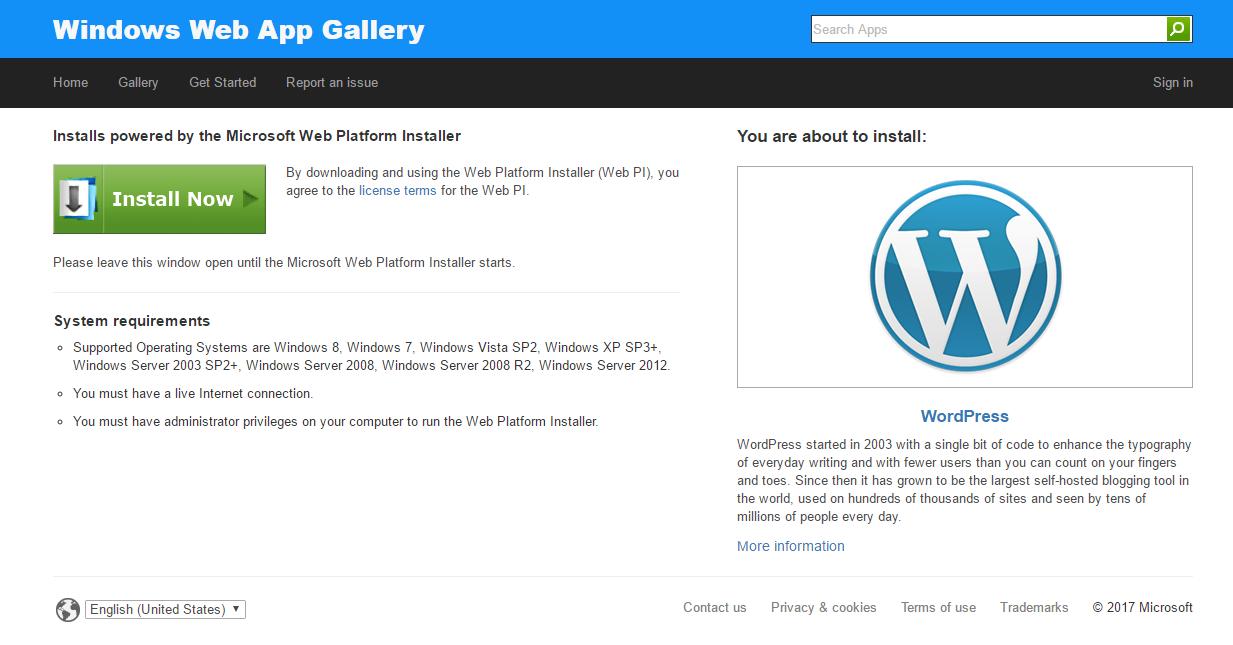 Microsoft web menyediakan wordpress